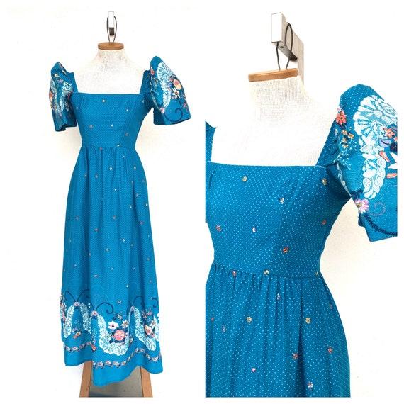 Vintage VTG 1960s 60s Blue Floral Multicolored Puf