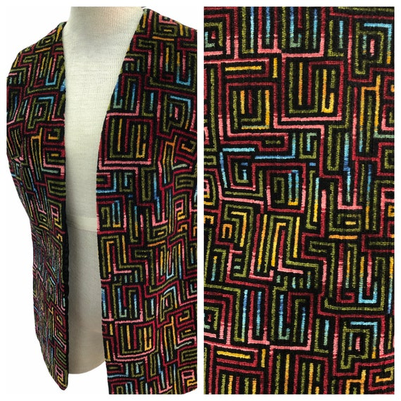 Vintage VTG 1960s 1970s Multicolored Woven Open Ve