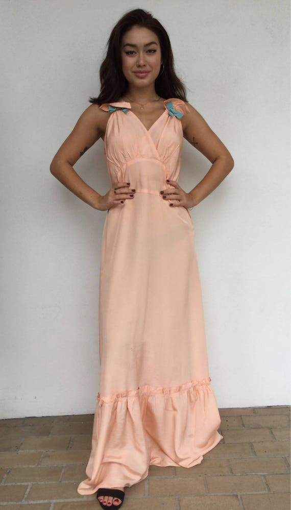 30s pale pink maxi slip dress with bow details