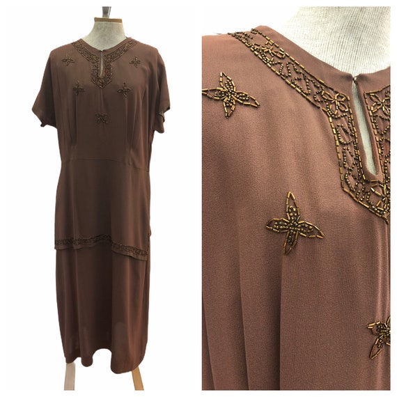 Vintage VTG 1940s 40s Brown Beaded Drop Waist Dres
