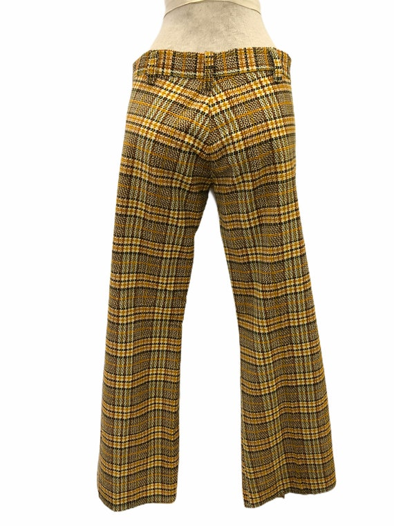 Vintage VTG 1970s 70s Yellow Plaid Pattern Flare … - image 3