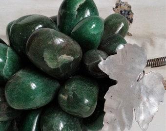 Vintage Italian Jade Marble Grape Cluster w/Aluminum Pressed Grape Leaf