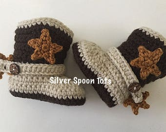 Baby Cowboy Boots,Baby Boy Boots, Newborn Cowboy Boots, Crochet Cowboy Boots,Stars, Strap & Spurs, 4 sizes available, Baby Boots
