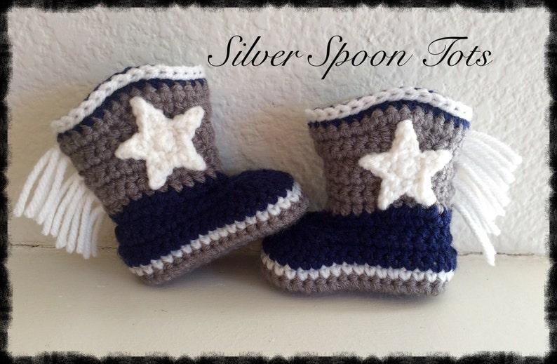 b4f3c00a530 Baby Boy Cowboy Boots Crochet Boots Dallas Cowboy s