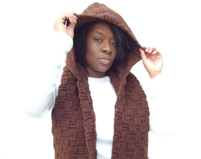 Basketweave Hooded Scarf