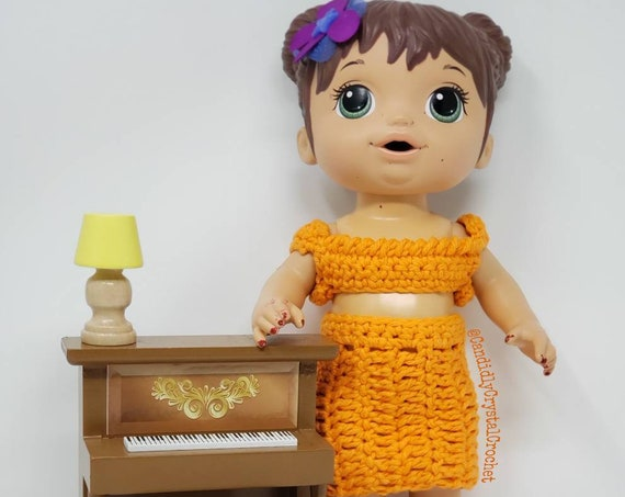"12-14"" Doll Clothes/Crochet Tank with Skirt Outfit/Small Baby Alive"