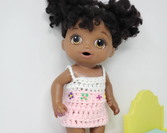 "12-14"" Doll Clothes/Crochet Cami Dress/Small Baby Alive"