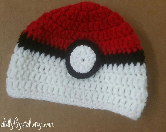Pokeball Crochet Hat (Pokemon)
