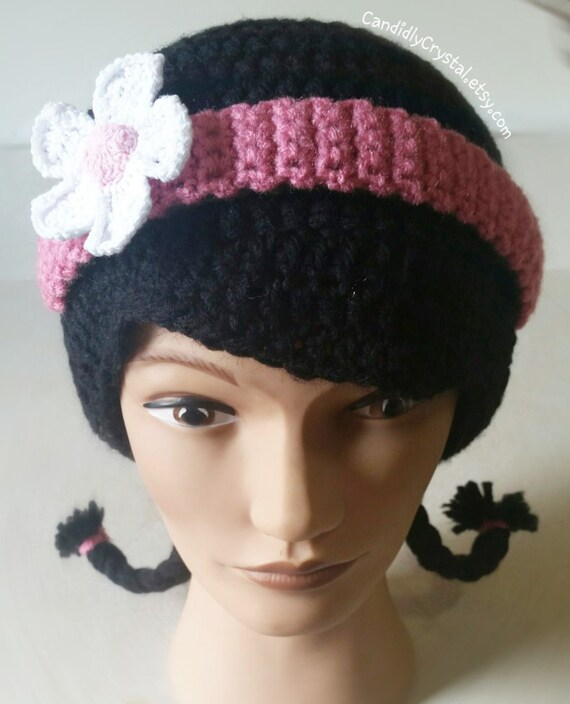 Crochet hat with pig tails