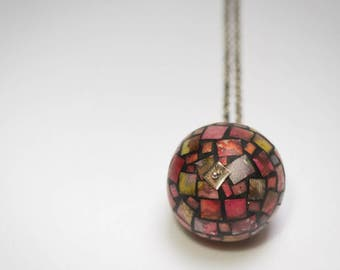 pink globe necklace, sphere necklace, long silver chain necklace ,orb pendant necklace, unique statement necklace, mosaic ball, gift for her