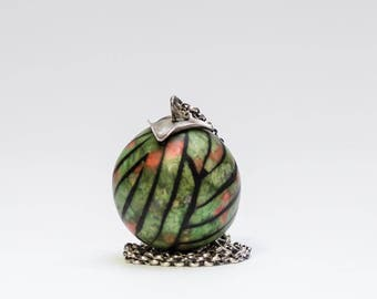 green orb pendant necklace on sterling silver chain, polymer clay pendant, Rock'n'Ball statement necklace, art jewelry by Jagna Birecka