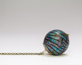 blue sphere pendant, statement necklace, long silver chain, round pendant, mosaic ball pendant, modern jewelry, gift for women