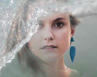 blue drop earrings, long asymmetric earrings, spindle dangles, mismatched earrings, geometric jewelry, modern silver earrings, funky jewelry