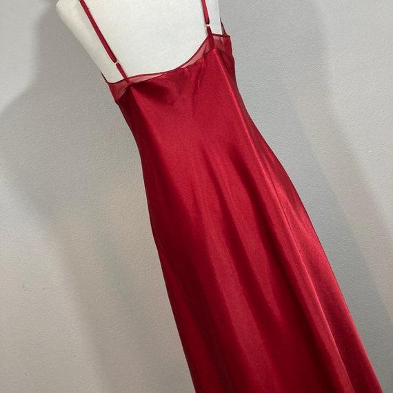 Vintage 1990's Halston Silky Red Maxi Length Slip… - image 5