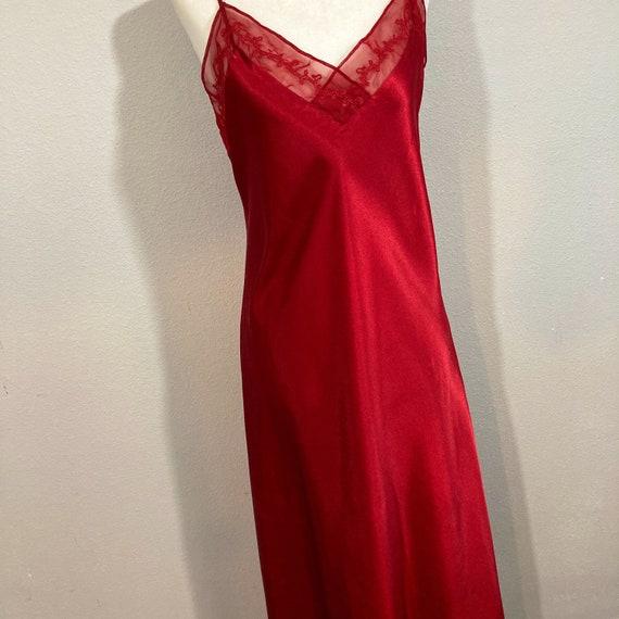 Vintage 1990's Halston Silky Red Maxi Length Slip… - image 1