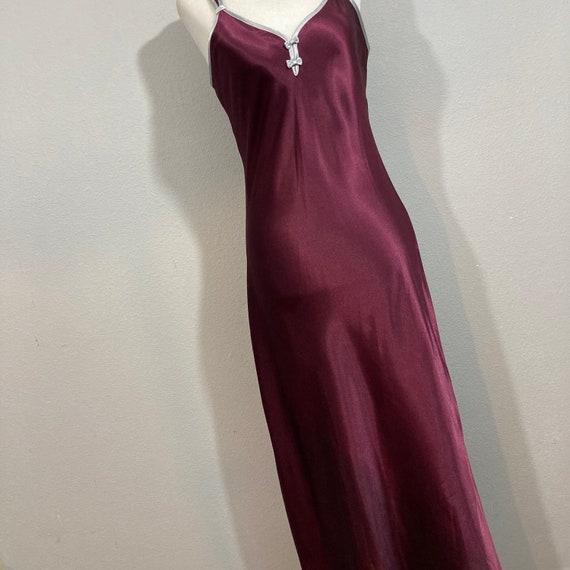 Vintage 1990's Halston Slip Dress Burgundy Silky … - image 4