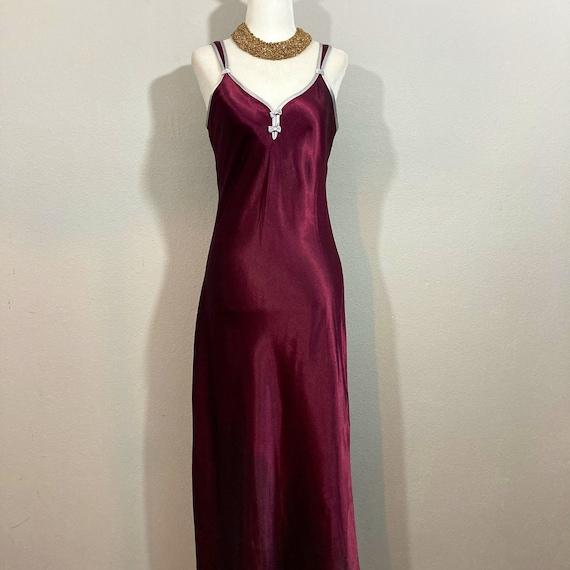 Vintage 1990's Halston Slip Dress Burgundy Silky … - image 2