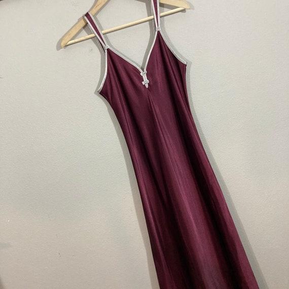 Vintage 1990's Halston Slip Dress Burgundy Silky … - image 3