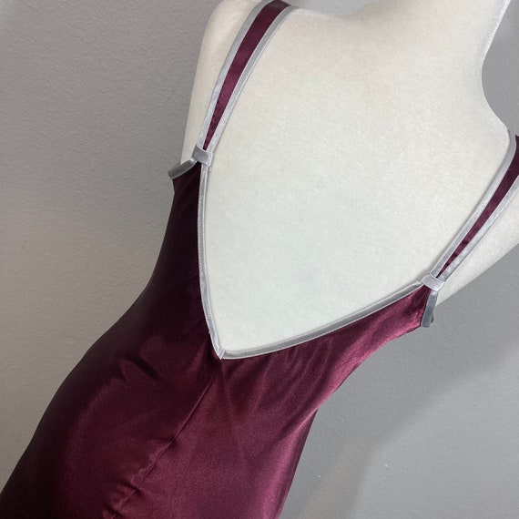 Vintage 1990's Halston Slip Dress Burgundy Silky … - image 7