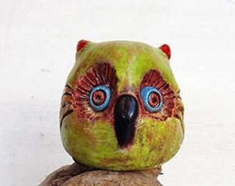 Mini Owl Figurine Handmade Pottery Fantasy Animal Art.