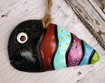 Ceramic Fish Figurine, Pottery Fish Ornament Wall Hanging, Handmade Ceramic Whimsical Fish Decor, Cute Wall Art, Ready to Ship in One Day.