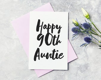 Hand Lettered Card Small Card SCC34 Birthday Card Ninetieth Gold Foil Card 90th Birthday Small Card Happy Birthday Card