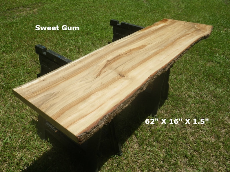 Groovy Live Edge Sweet Gum Solid Wood Slab Finished Natural Edge Bar Top Desk Top Foyer Table Console Table Wood Shelving Work Station 4622 Home Remodeling Inspirations Cosmcuboardxyz