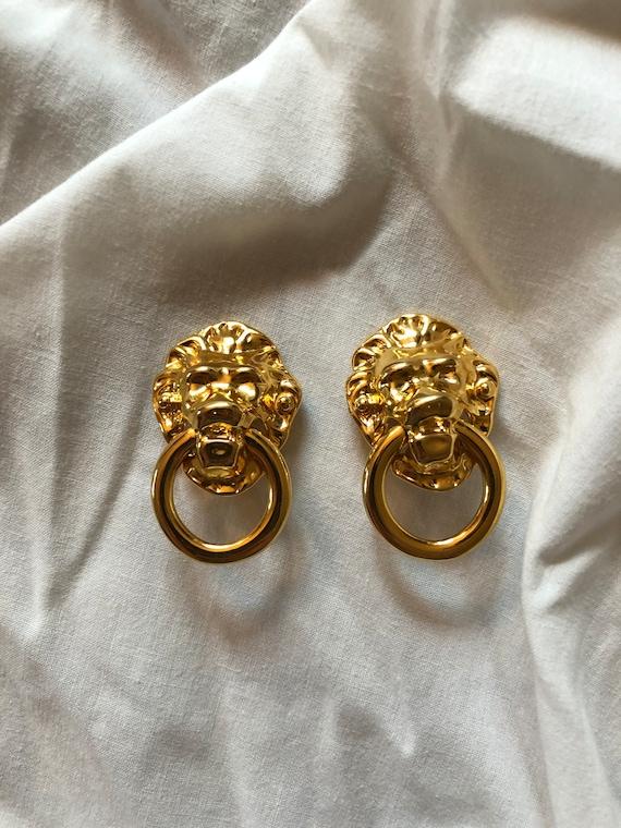 KJL Lion Doorknocker Earrings Lion's Mask Doorknoc