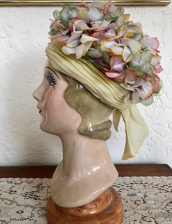 Schiaparelli Flower Hat Pale Yellow 1960s True Vin