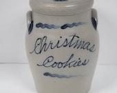 Vintage 1995 Rowe Pottery Reversible Cookie Christmas Cookies Jar