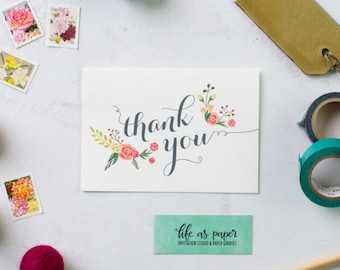 THANK YOU floral stationery - folded note cards - stationery - pack of 20