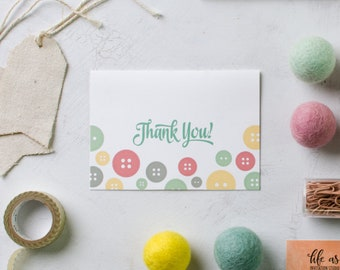 cute as a button baby shower - thank you cards - set of 20