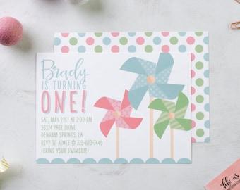 PINWHEELS & POLKA DOTS invitation - first birthday invite - birthday party invitation