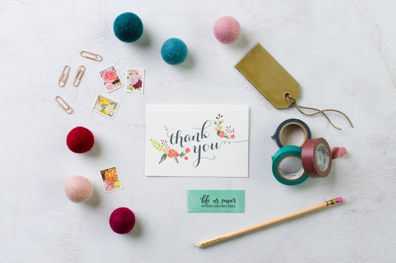 THANK YOU floral stationery  folded note cards  stationery  image 0