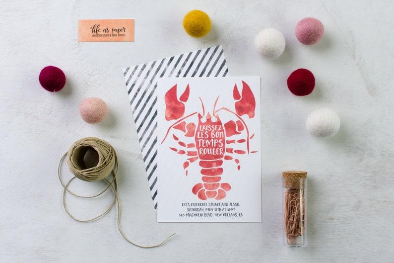 CRAWFISH BOIL invitations  engagement party wedding shower image 0