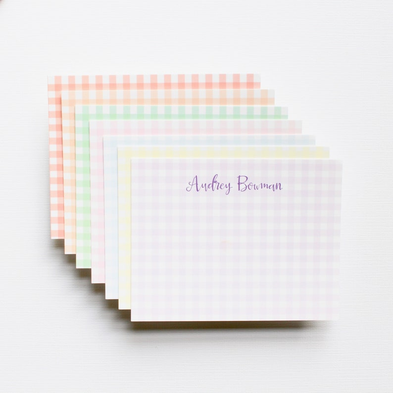 GINGHAM NOTECARD stationery  flat note cards  pack of 24 image 0