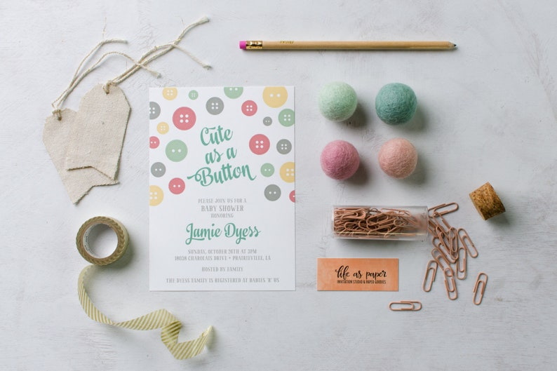 CUTE AS A BUTTON baby shower invitation  gender neutral  image 0