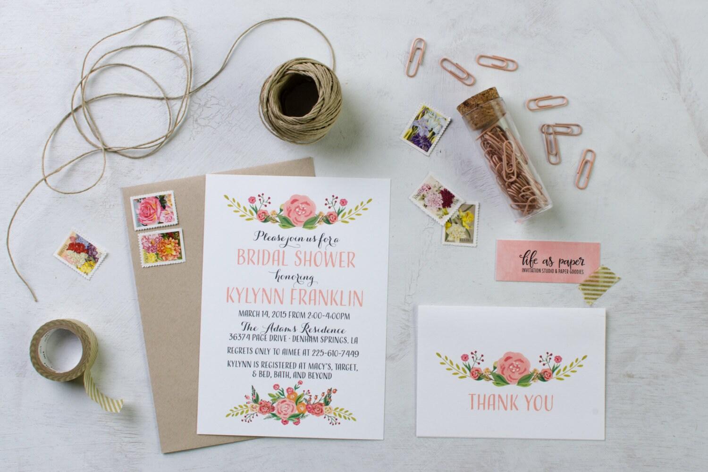 Spring Flowers Bridal Shower Invitation Baby Shower Invite Etsy