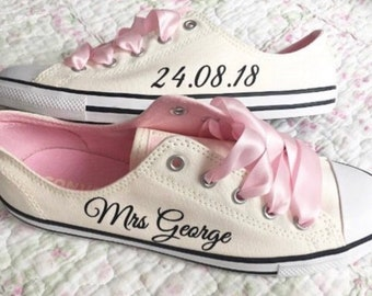 79dc6d81913b Personalised converse pumps DIY transfer bride heel tags ans side names.  TheGuestbookCo. in United Kingdom