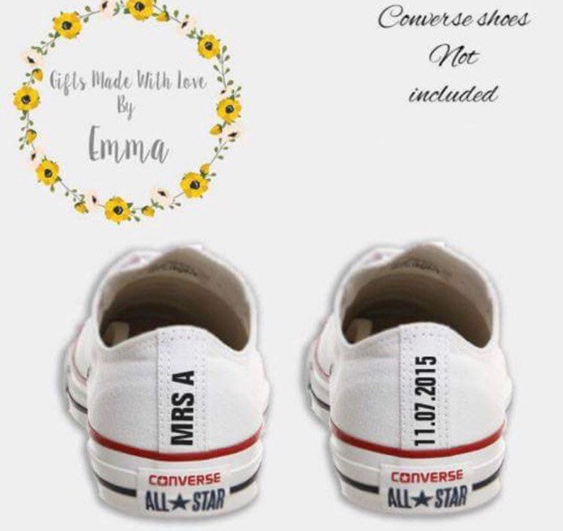 Wedding Converse Mrs & date heel tags DIY iron on transfer decal something blue