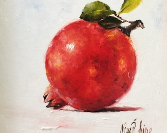 Pomegranate with Leaves Original Oil Painting by Nina R.Aide 6x6 canvas Fine Art Studio Gallery Kitchen Art Small Painting