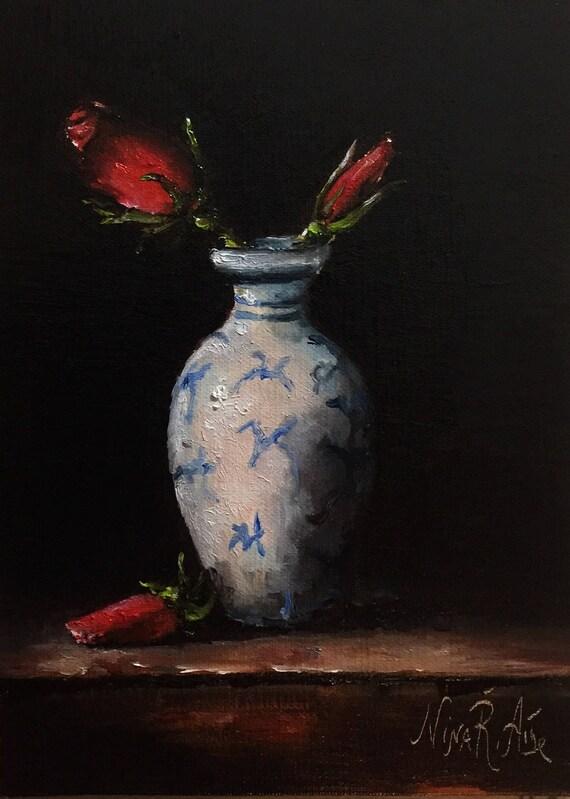 Roses In Delft Vase Oil Painting Nina R Aide Original Fine Art