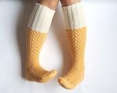 Sunshine yellow boot socks. Knee high socks. Off-white, pastel yellow. Hand knit knee-high socks. Geometric lace socks. Gift for her