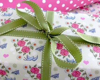 Single Sheet of Double Sided Gift Wrapping Paper - Swallows and Roses- Floral Wrapping Paper - Gift Wrap - Gift Wrap For Mum