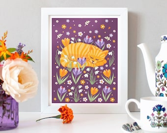 Cat Print - Sleepy Cat illustration print - Wall Art - Marmalade Cat Print - Cat Art - Mother's Day Gift - Gift For Her