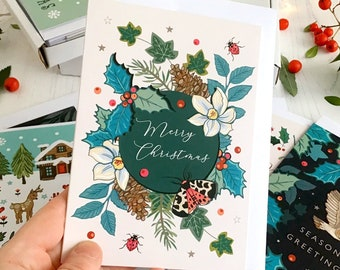 Merry Christmas card botanical drawing of wild winter flora