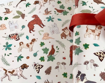 Dogs & Woodland Nature Gift Wrap with Tag, Dog Breeds Wrapping Paper, Scrapbook Paper