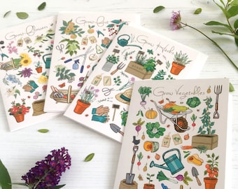 Set of 4 Gardening Cards, Grow a Garden Notecard Pack, Can be ordered individually