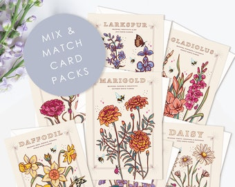 Pack of Birth Flowers Cards, Mix and Match Sets of 4 and 6, Can be ordered individually