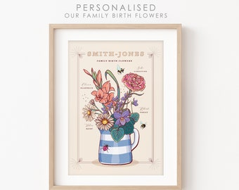 Personalised Family Birth Flowers Print, Our Family Flowers Wall Art
